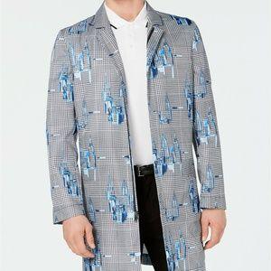 Alfani Mens Jacket Blue Overcoat